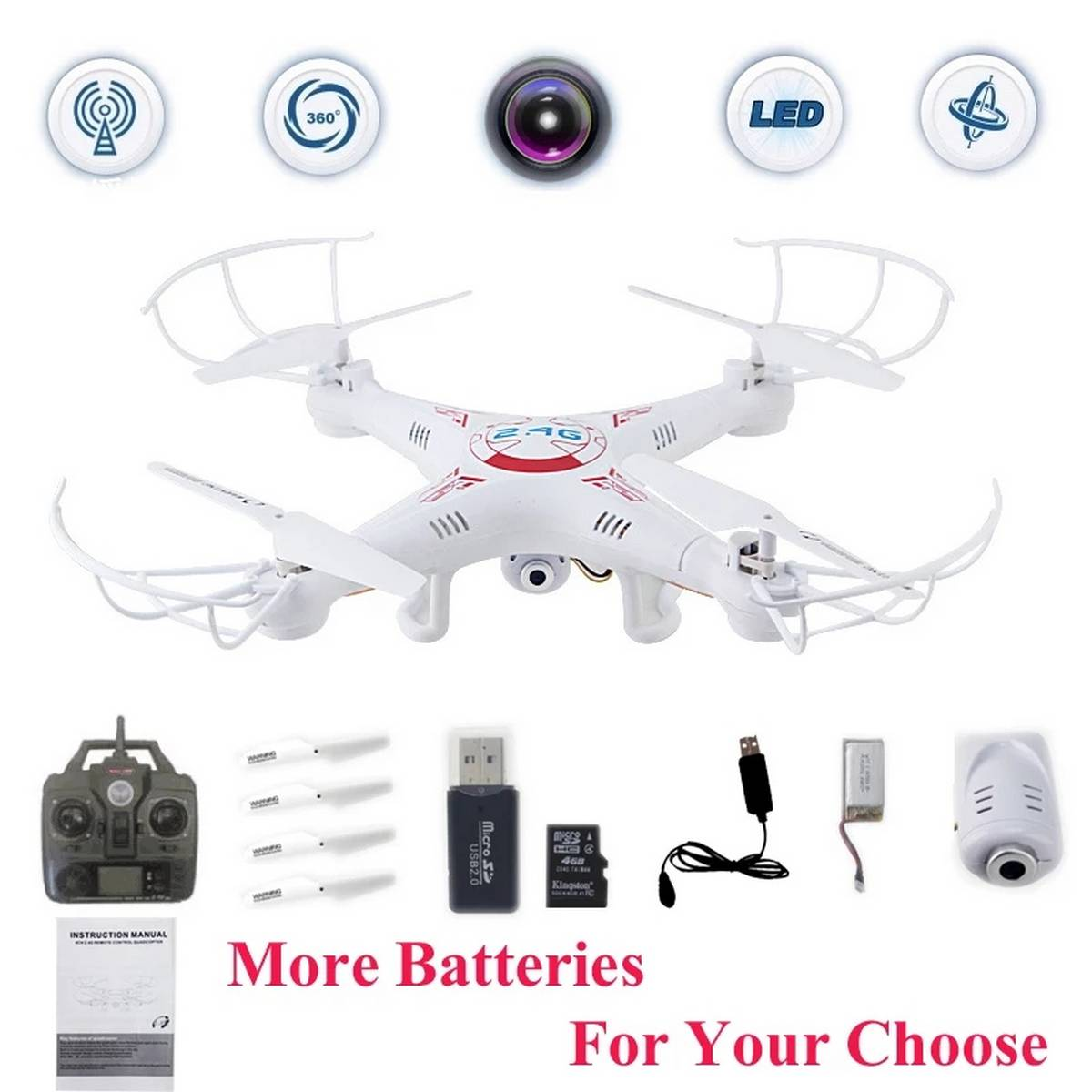 Drone with 5.0MP HD Camera,Remote ctrl drone, FPV Drone with Adjustable Wide Angle, Double GPS Positioning RC Quadcopter with Headless Mode, Altitude Hold..
