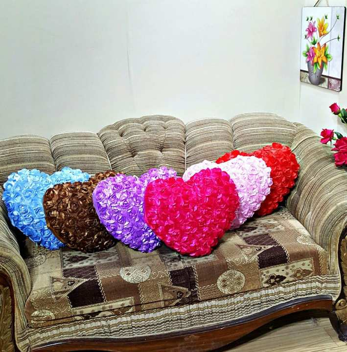 CH Taffeta Heart Shape Floral Decorative Cushion With Out Filling ( 16 x 16 Inches )