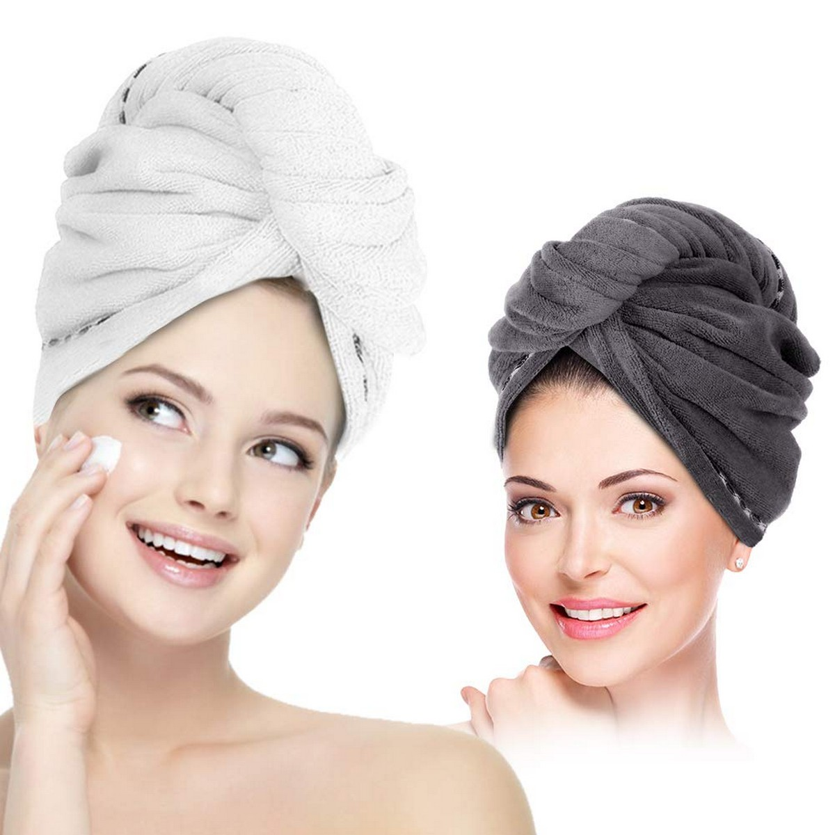 Hair Towel, Hair Drying Towels Quick Dry Hair Hat Headband & Wrapped Bath Cap with Buttons Bath Loop Fasten Drying Shower Head Towels for Women Towel Girl Wet/Thick Hair (Pack of 2)