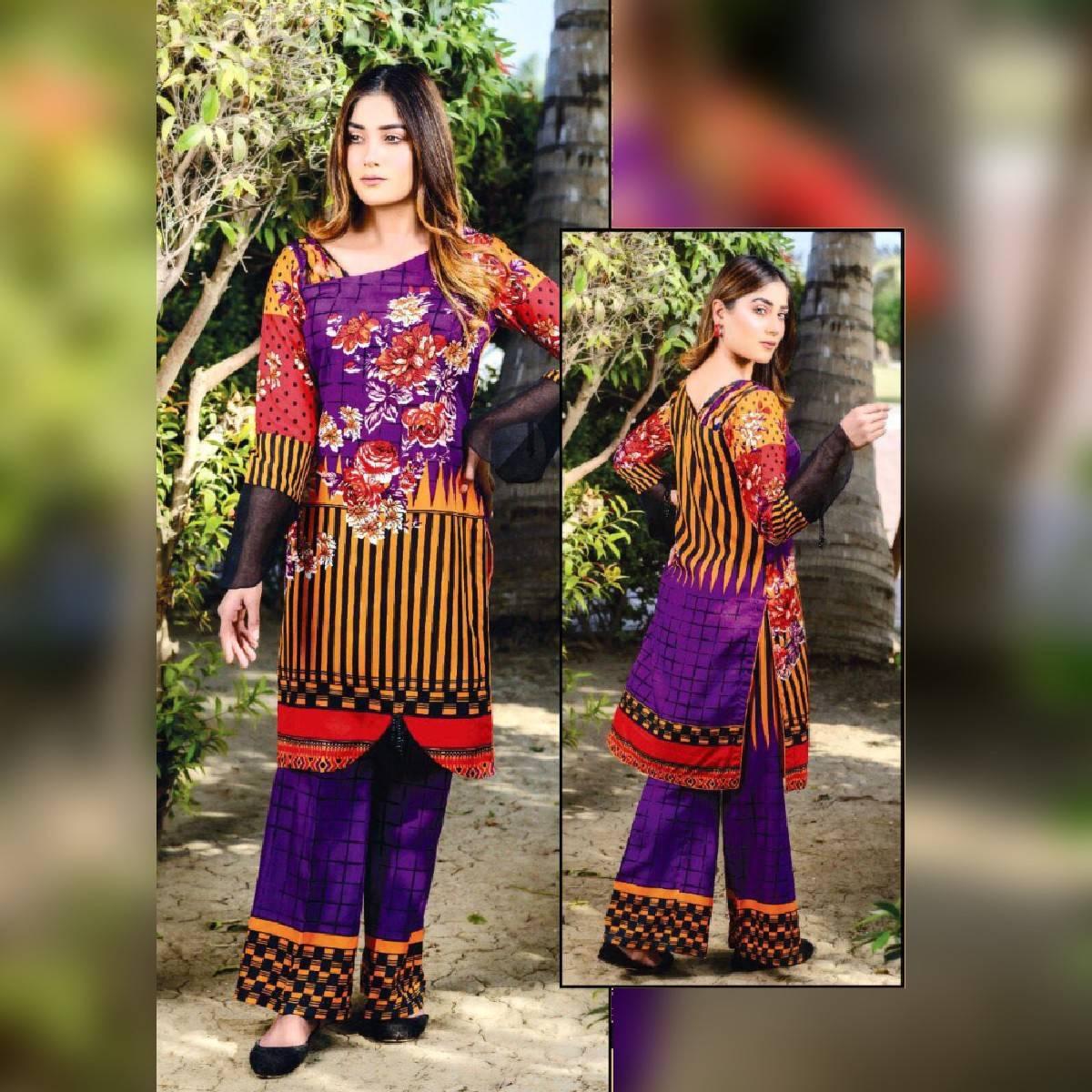 Multicolor Floret Digital Printed Unstitched Suit 2 Pieces Malai Lawn Suit for Women