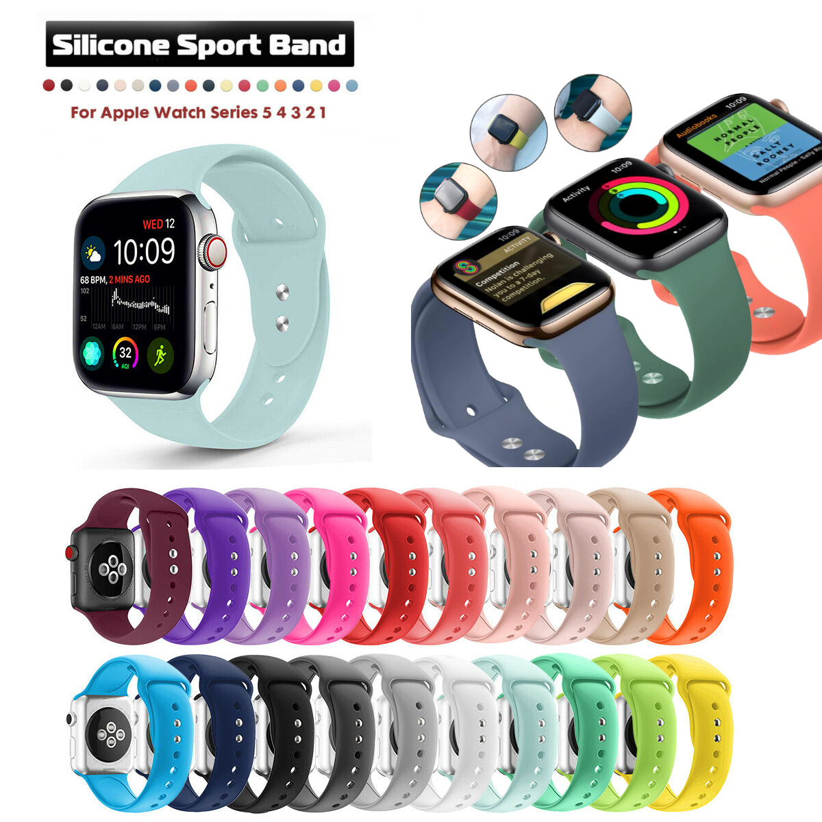 Soft Silicone Sports Strap Band Wrist Smart Watch Straps 42mm 44mm Silicon Rubber Bracelet Watchbands Strap For iWatch Series 1 2 3 4 5 6 T500 T500 Plus T55 fk78 W26 W26+ HW22 MC72 Pro Wristband 42/44mm Replacement Smartwatches Straps - More Color Options