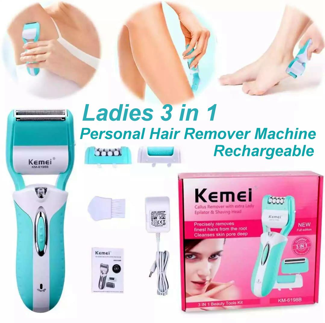 Kemei ( KM-6198B ) 3 in 1 Rechargeable Electric Shaver Epilator Callus Hair Remover for Ladies Women Girl Body Leg Armpit, Personal Care Machine Imported