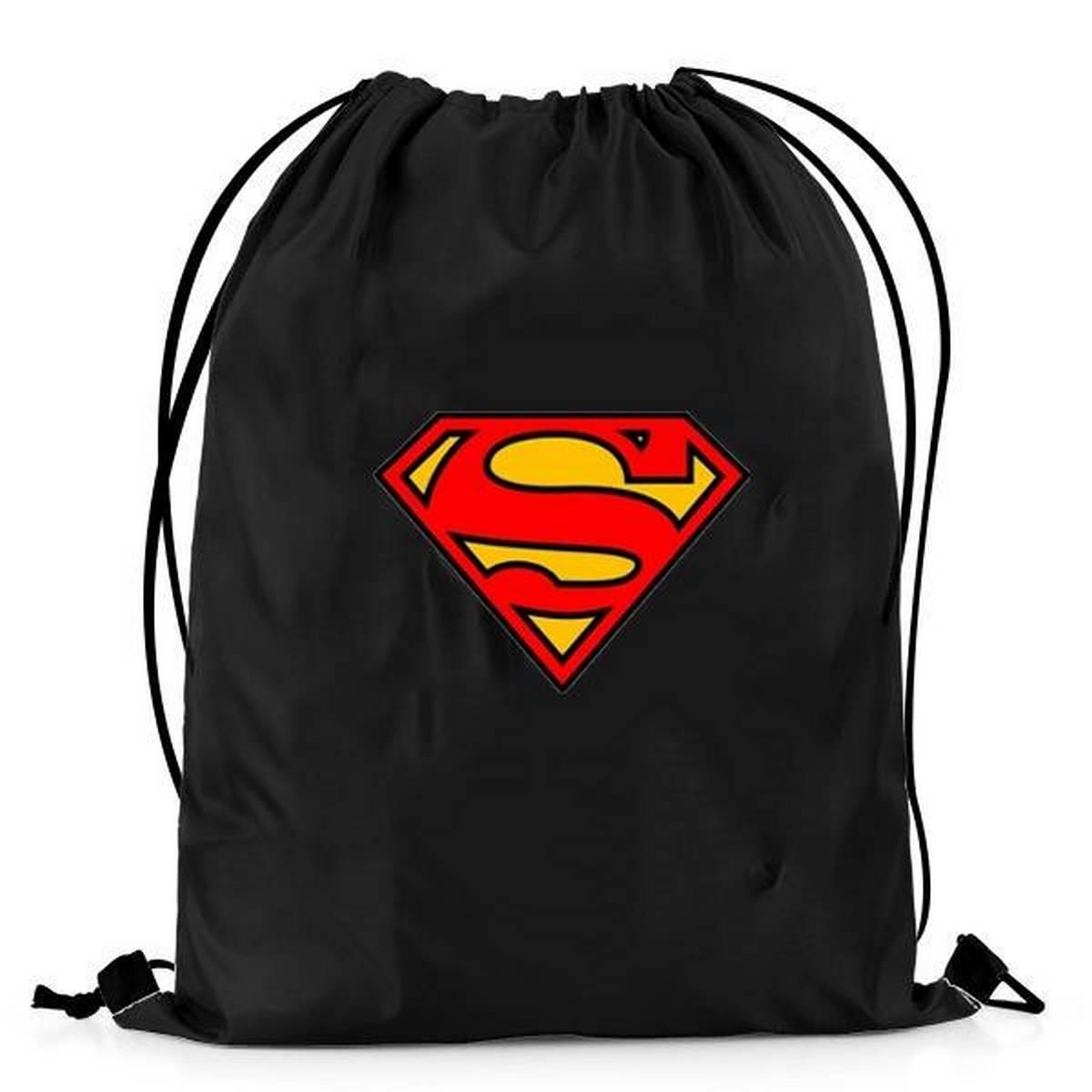 Black Jeans Bag Super men 2 Printed  Drawstring Bag For School, College, Gym, Sports, Umrah & Out Door
