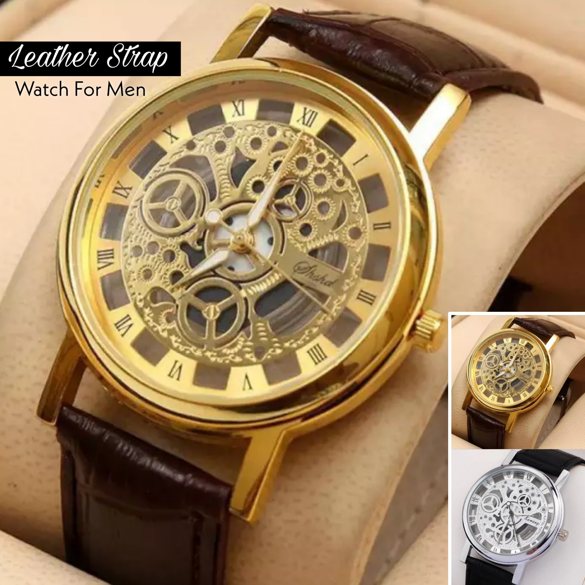 Leather Strap Skeleton Watch for Men - Stylish and Latest Design