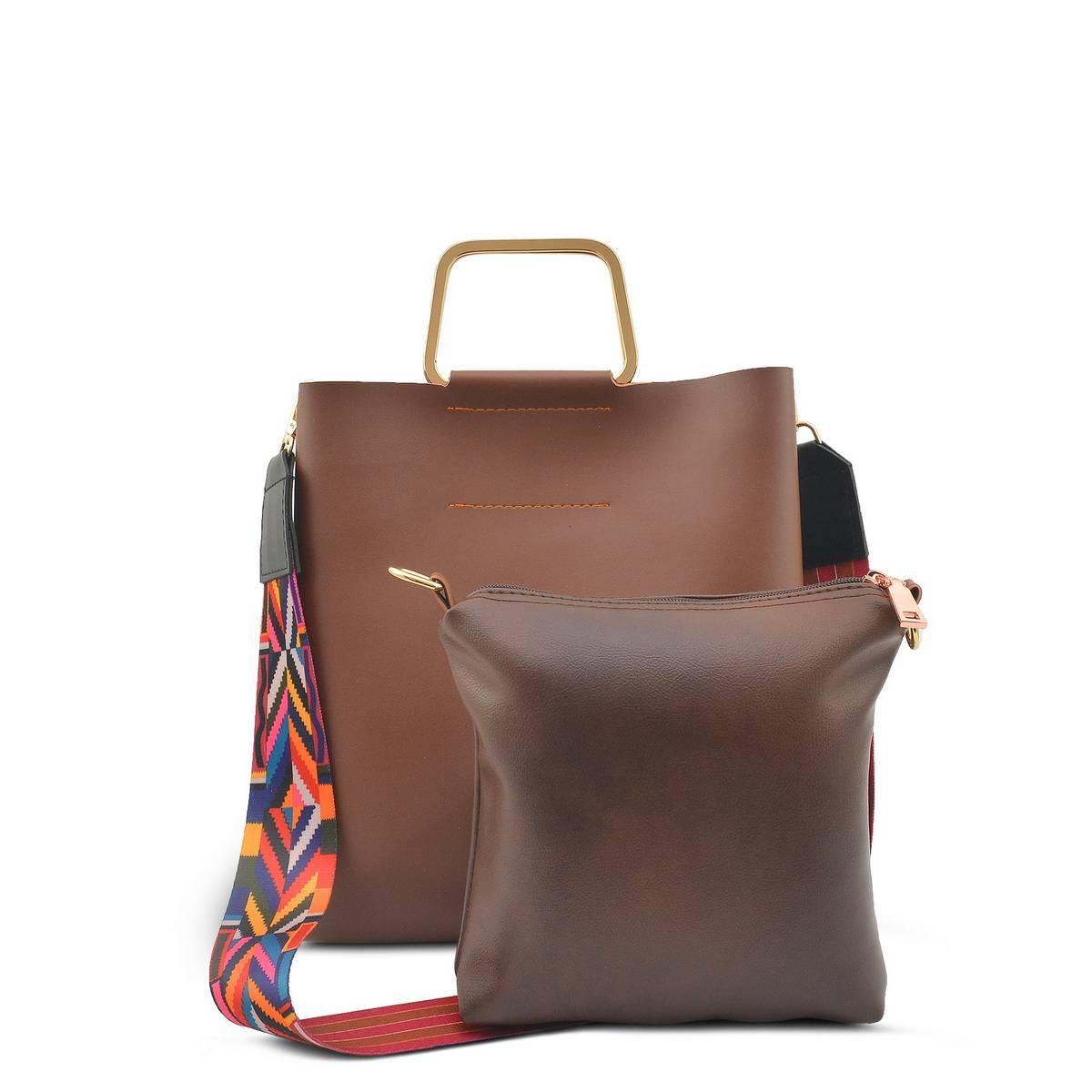 Astore Silver Aluminium Handle Colorful Fix Detachable Strap Faux Leather Two Pieces Brown Handbag and Shoulderbag