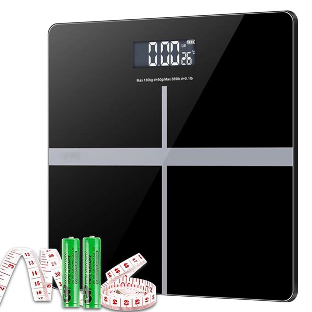 Tempered Glass Electronic Digital Body Weight Scale, Bathroom Scale 180 KG with LCD Display Weight Machine