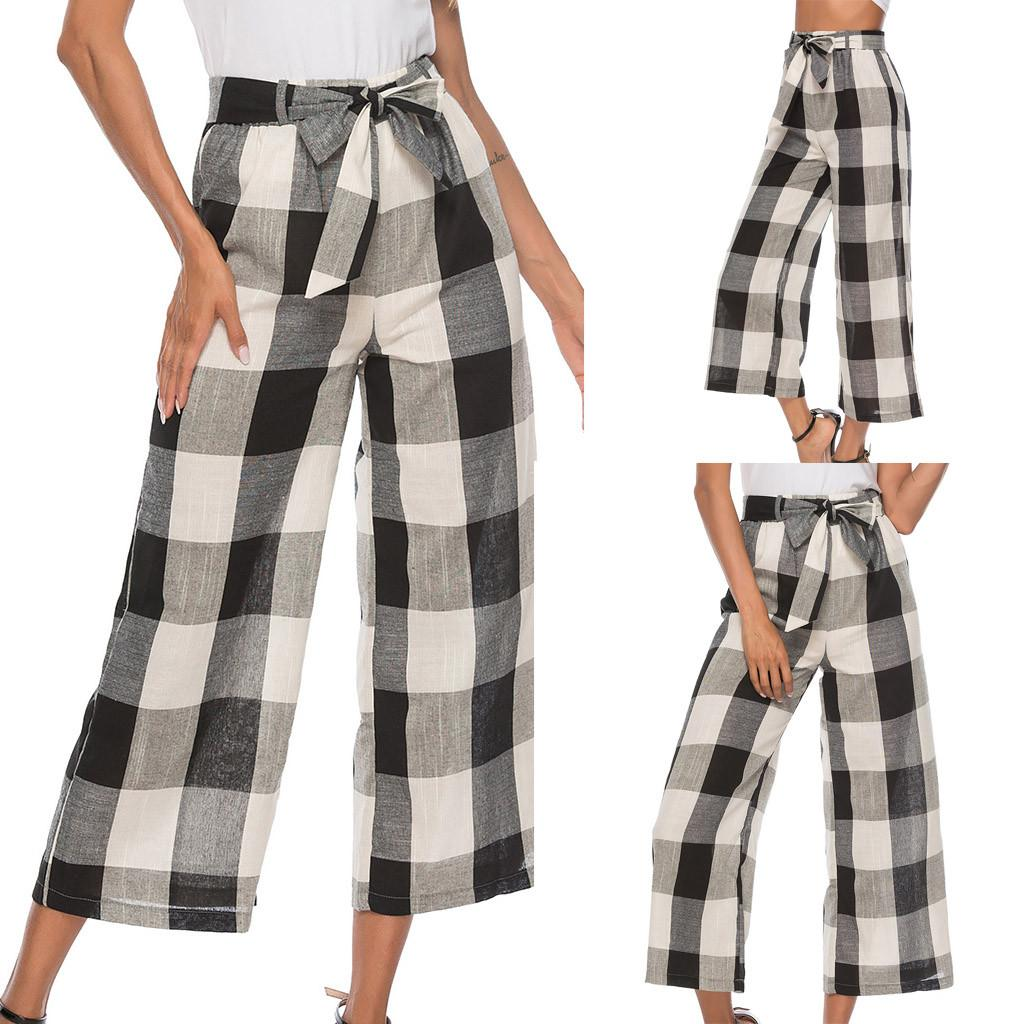 Women's Causal Office Ladies High Waist Outdoor Bow Plaid Print Long Pants