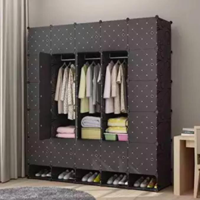0443bce6632 Collapsible Portable Closet Wardrobe Bedroom Cloth Storage Organizer with  Doors 16 Cube