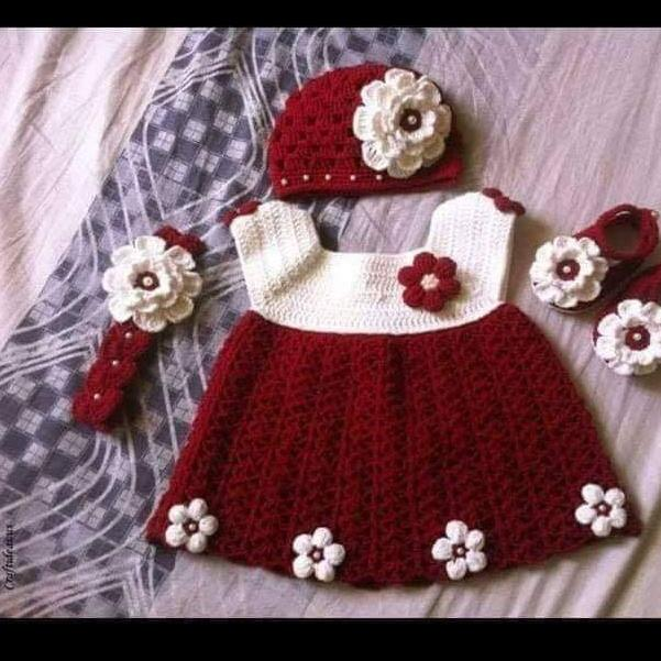 Baby Crochet Dress Mahroon(3 To 6 Months)high Quality