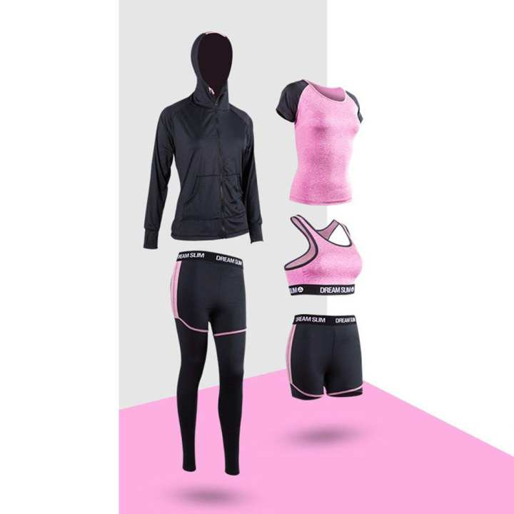 Jogging Running Sports Suit Women Tracksuit Long Sleeves Hooded Sportswear
