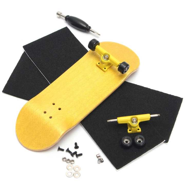 5PCS Basic Complete Wooden Fingerboard Finger Scooter with Bearing Grit Box Foam Tape Yellow