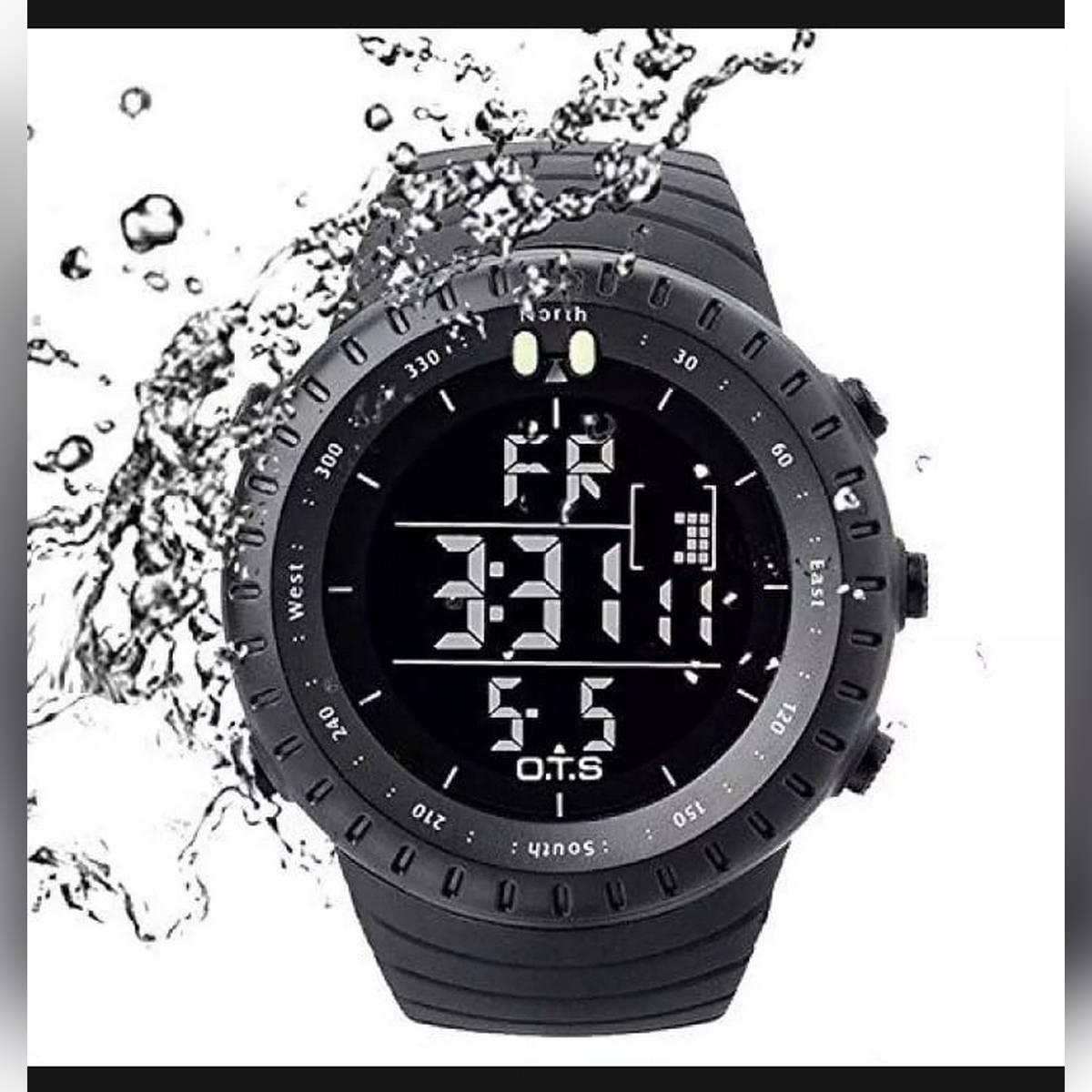 Men's Digital LED green light watch back steel SUUNTO army military casi0 boys watch