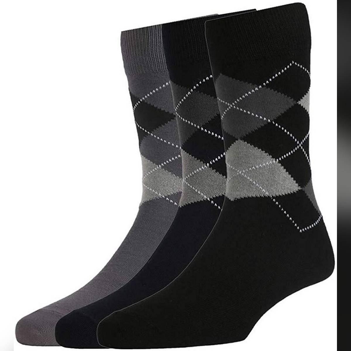 Men's Cotton Full Length Socks (Black and Grey, Free Size) Pack of 3