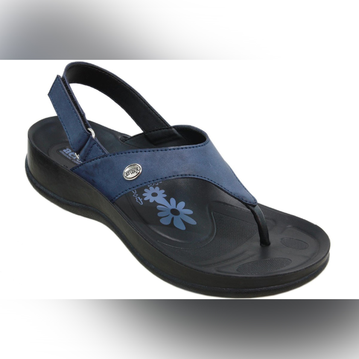 Aerosoft Navy Synthetic Leather Sandals For Women S5914