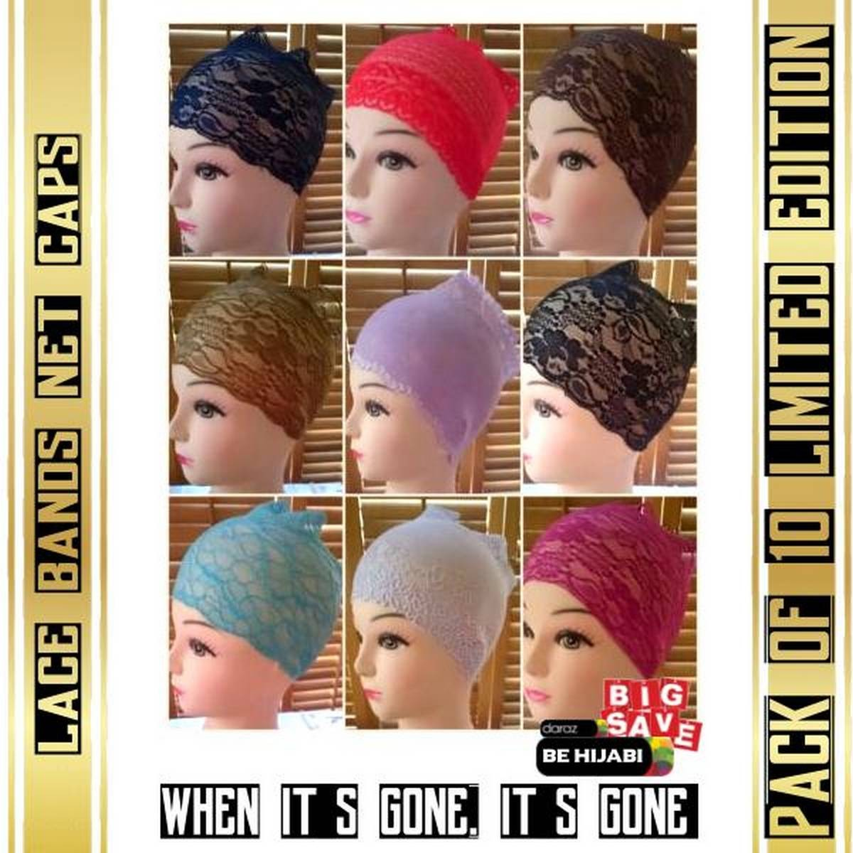 Pack of 10 LADIES LACE BANDS NET - BONNET - BONE - CAP HIJAB UNDER SCARF Arab Cap Fashion