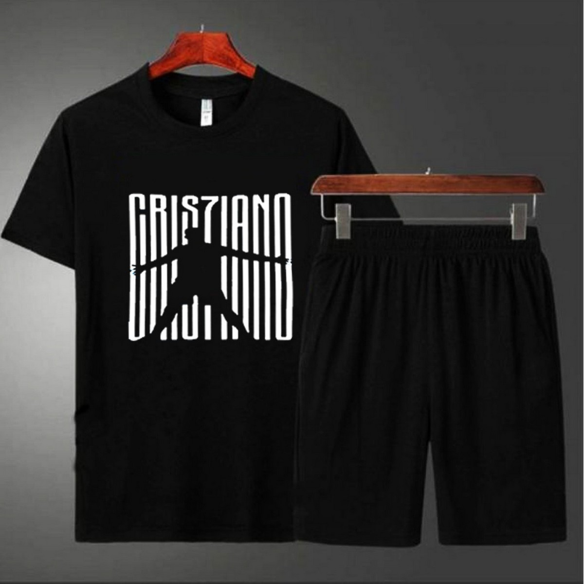 New Cristaino Printed Black Tshirt with Plain Short Summer Gym Wear Shorts Cotton Half Sleeves Fashion Tees Export Quality Fabric T shirts For Men