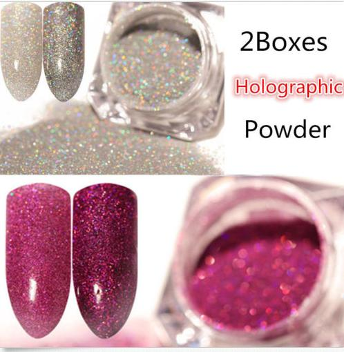 2 Boxes Holographic Glitter Powder Dust Holo Laser Nail Art Manicure Tips silver and pink