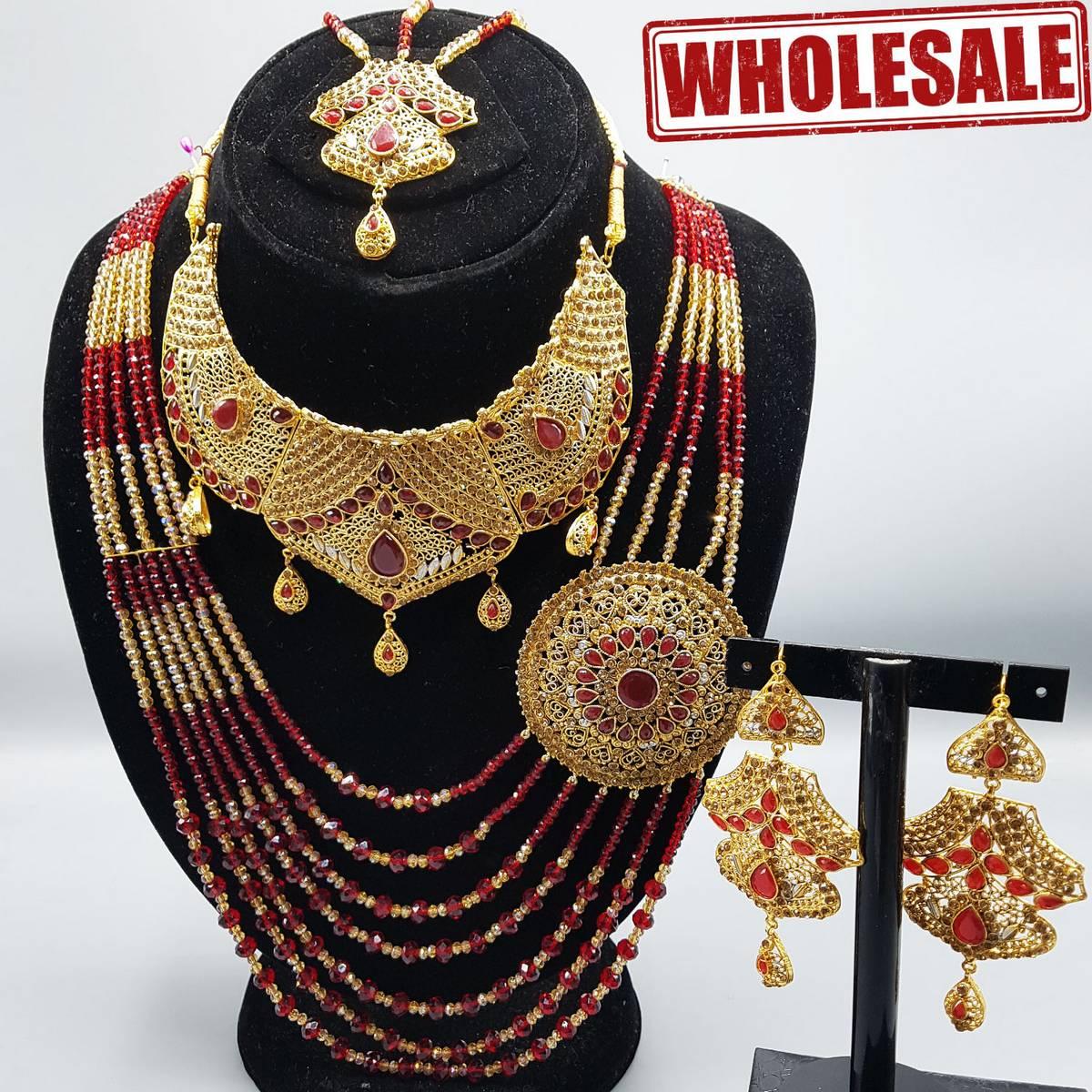 Luxury Jewelry Wedding Bridal Jewelry Set Long Choker Necklace Earrings Maang Tikka Ring
