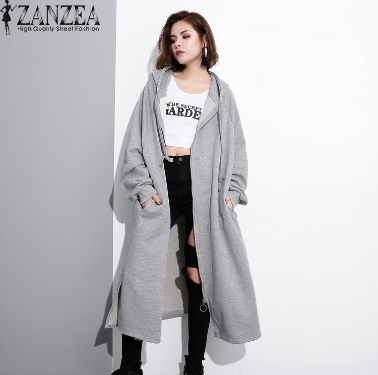 6dc818d0086 ZANZEA Winter Autumn Women Fashion Coat Long Sleeve Zipper Hooded  Drawstring Jacket Baggy Loose Solid Oversized