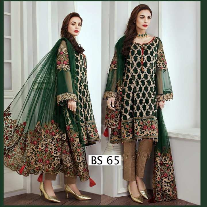 Ladies Dress Net embroidered 3 piece Suit BS 65