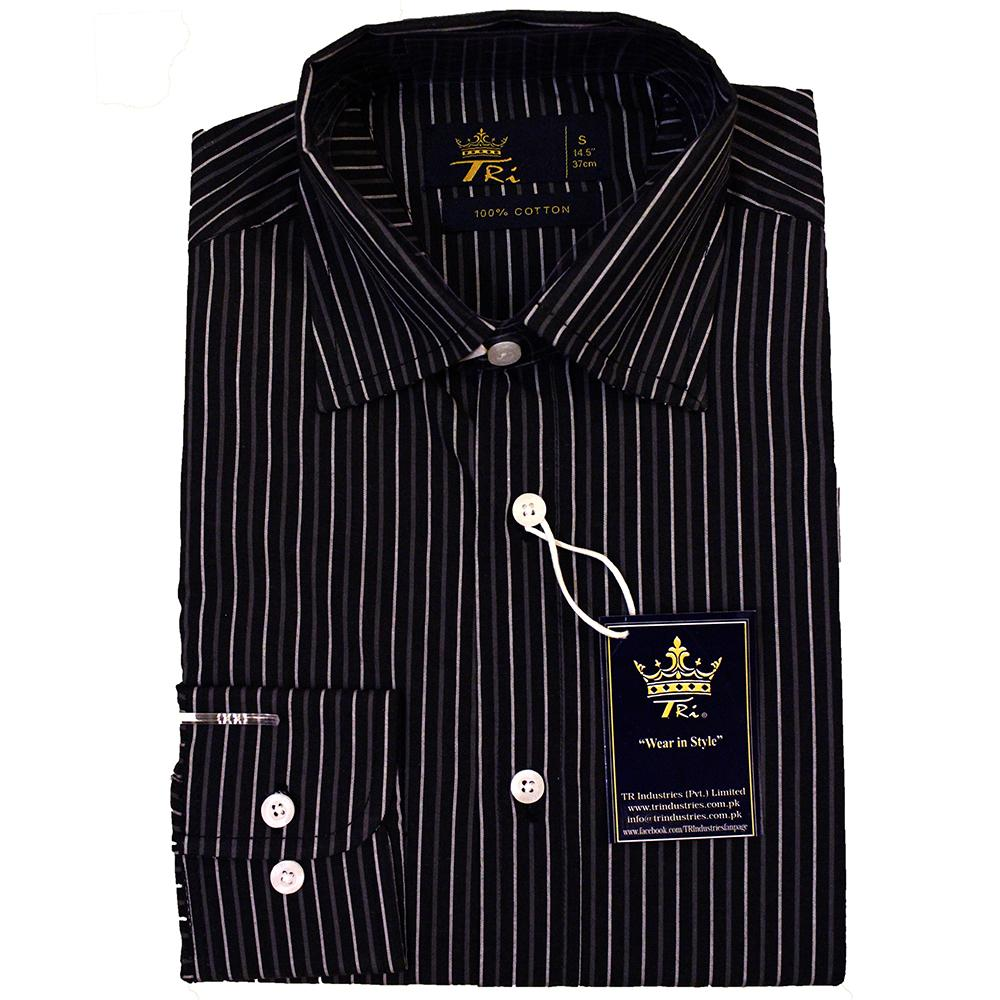 471313a0ebfef 100% Cotton Casual Dress Shirt For Men Black Color White Stripes