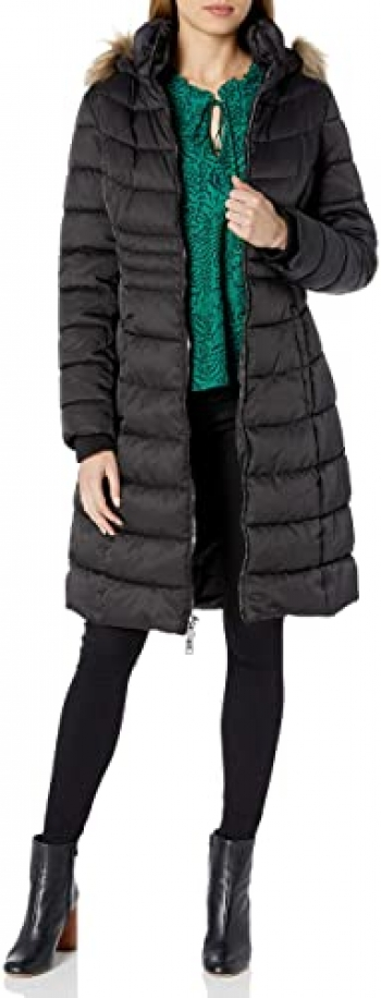 Women's Black Zip Front Midi Length Puffer with Faux Trimmed Hood
