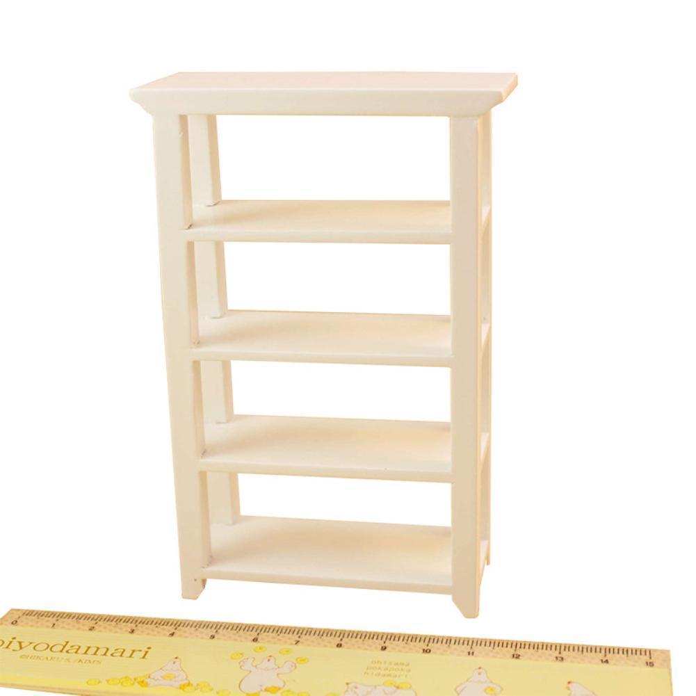 Free Spirit 1:12 Mini Modern White Wooden Display Shelf Furniture Modeling  for Doll House