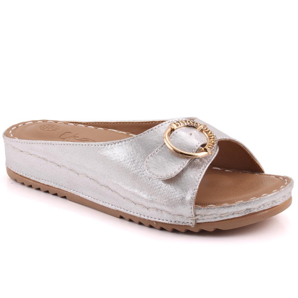 "93f99c20df5f Women ""QIANA"" Shimmer Buckle Flap Strap Comfort Wedge Slippers- L31493"