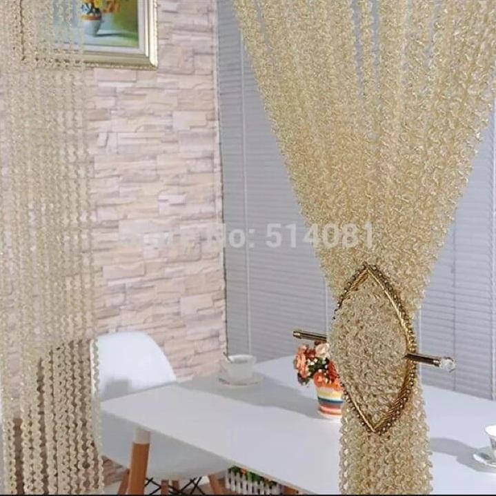Shiny Tassel Flash Golden Line String Curtain Window Door Divider Sheer Curtain Valance Door Treatment Home Decoration