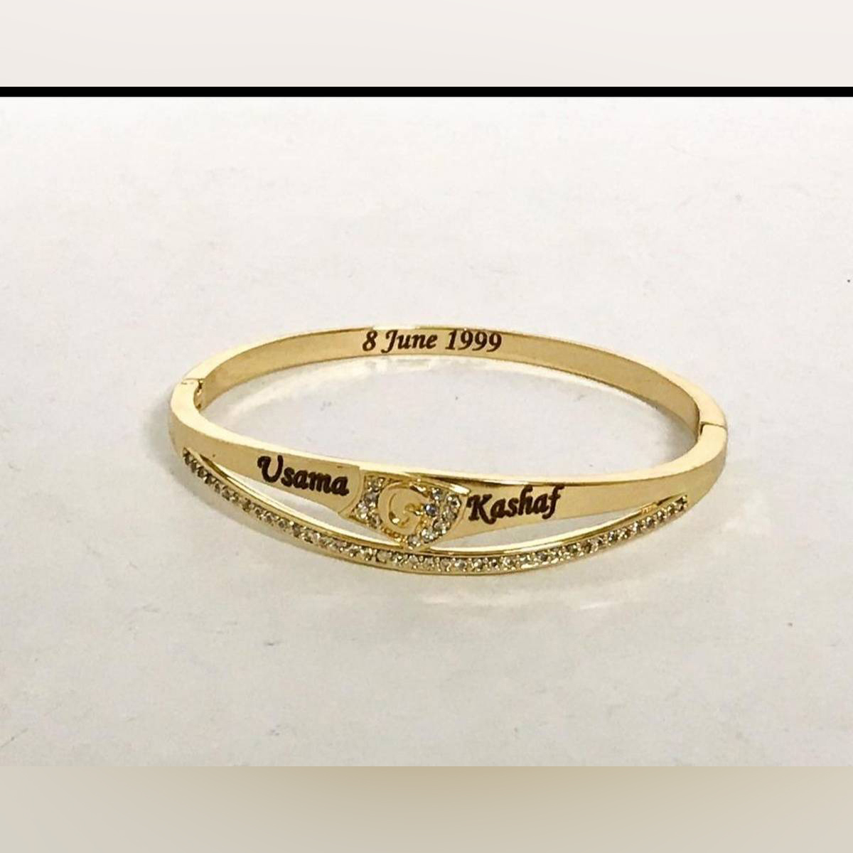 PLACE ORDER AND MENTION NAMES & DATE IN CHAT  Name Bracelet or Bangle With Engraved Names & Date for Men/Women  -Best for Gift -For Loved Ones -Birthday Gift -Anniversary Gift -Engagement Gift - 02 Names & Date Engraving -Customized Gift