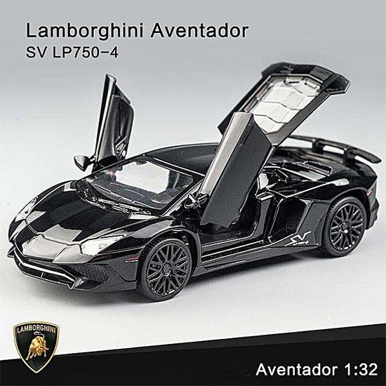 Lamborghini Aventador Diecast Cars 1 32 Pull Back Vehicles Metal Model Random Color Openable Doors with Sound Light Toy