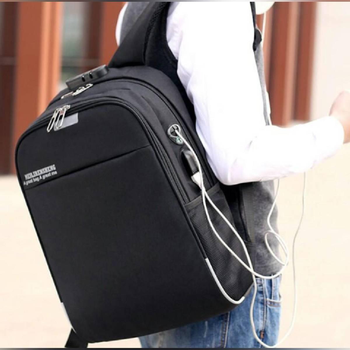 USB Charging Business Backpack with Earphone Hole Men Women School Bag, Travel Bag , Sport Bag, Travel Backpack