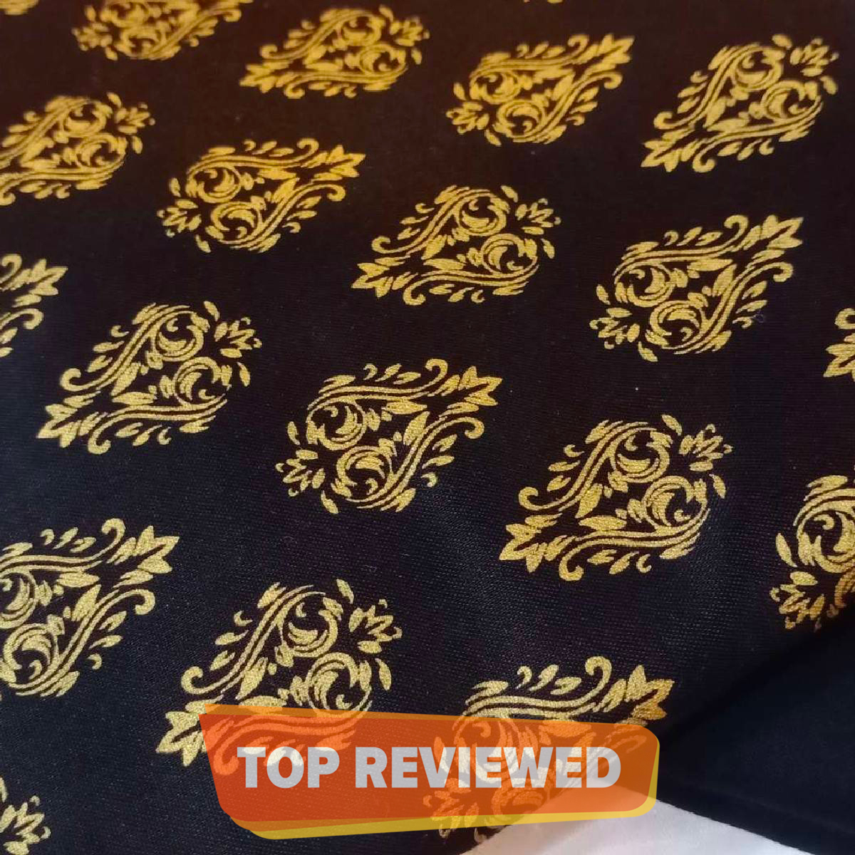 Ghazi fabric Black Gold print 2piece shirt and trouser fabric new design Trendy party wear 2 piece(gf7766)