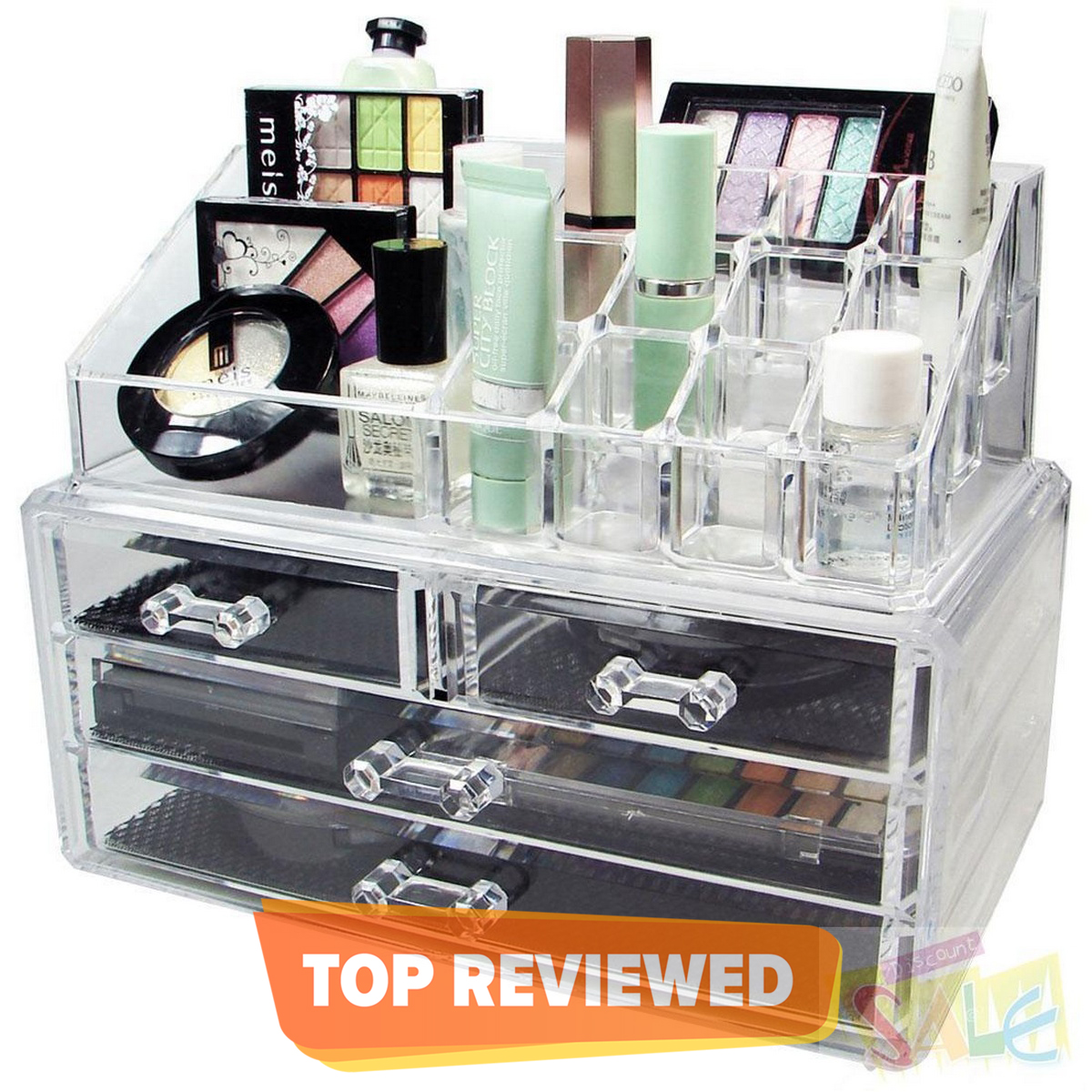 Acrylic Cosmetic Organizer Makeup Holder Display Jewellery Storage Case With Drawer
