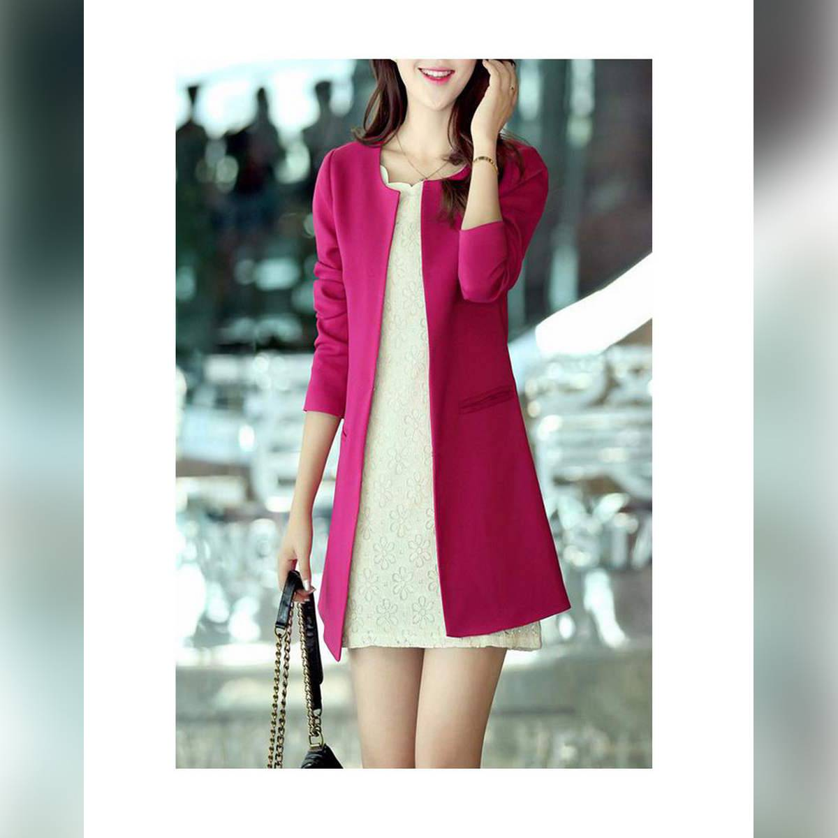 Women Stylish O-Neck Trench Outerwear Jecket Coat