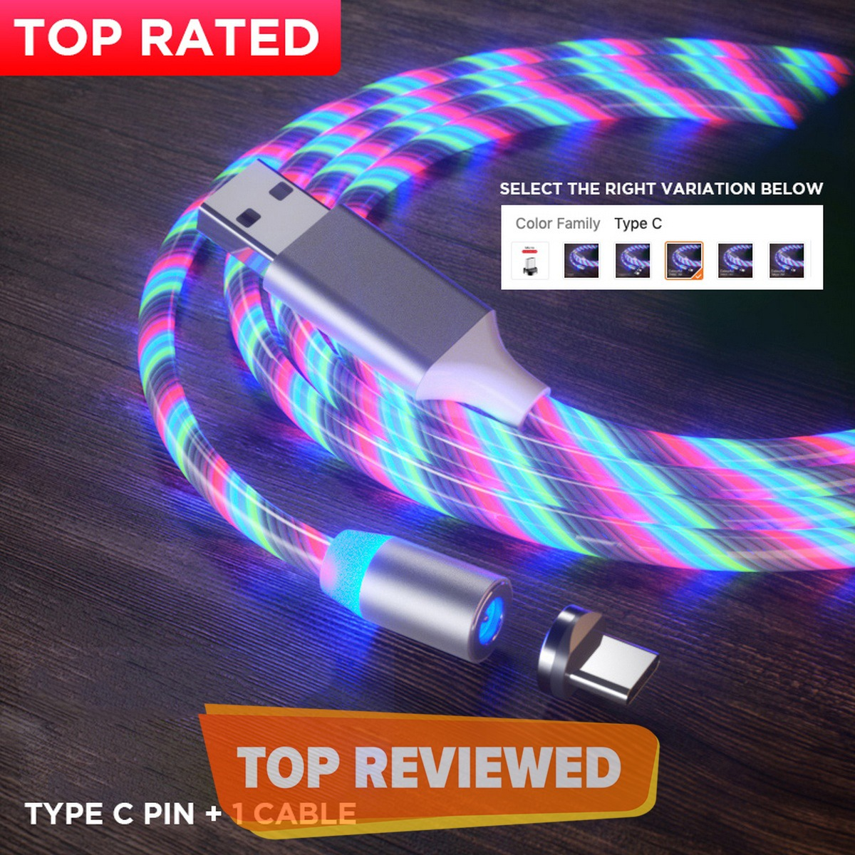 Magnet Charger Cable Flowing Led Light with Magnetic Charging Pin Micro USB / Type C / IPhone Connectors