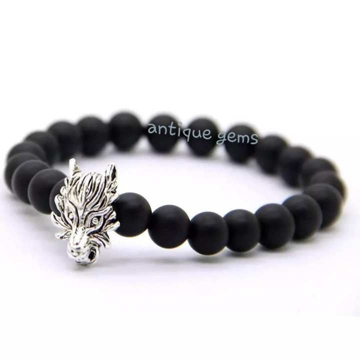 Outdoor Sports Enthusiasts Jewelry 8mm Round Matte Onyx Stone Beads With Antique Colour Plated Wolf Man Brecelet