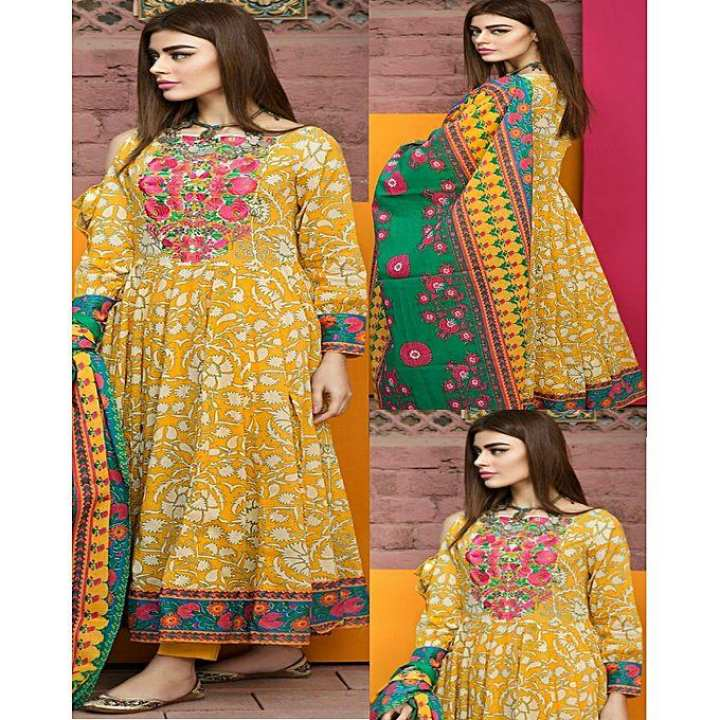 Yellow Embroidery Lawn Unstitched Suit - 3pcs