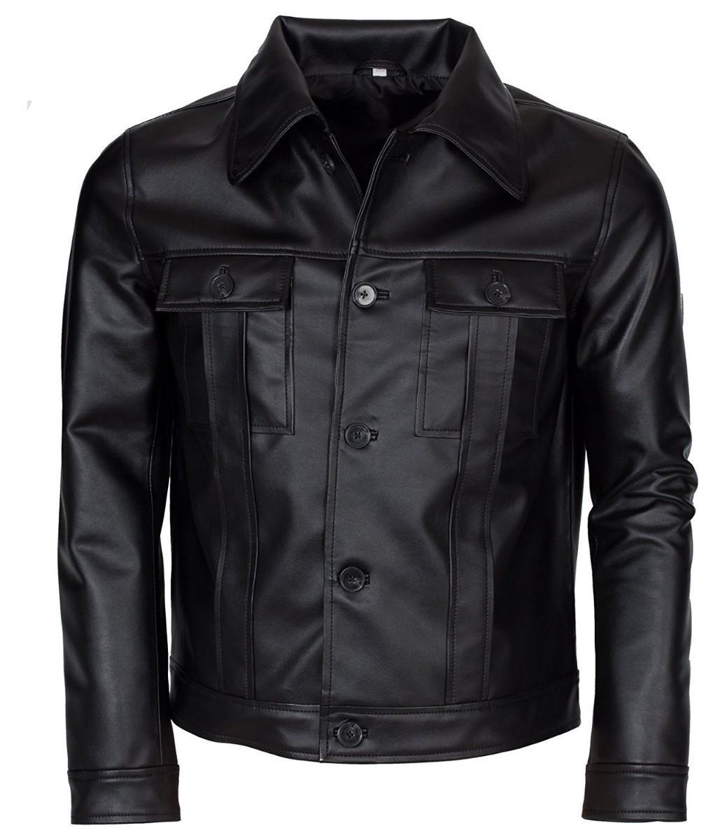 b611a5560e18 Feather Hide Mens Clothing Elvis Presley Inspired Black Rockstar Genuine Leather  Jacket