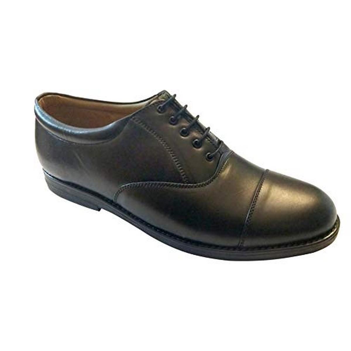 Men's Handmade Leather Oxford Pattern Black Shoes