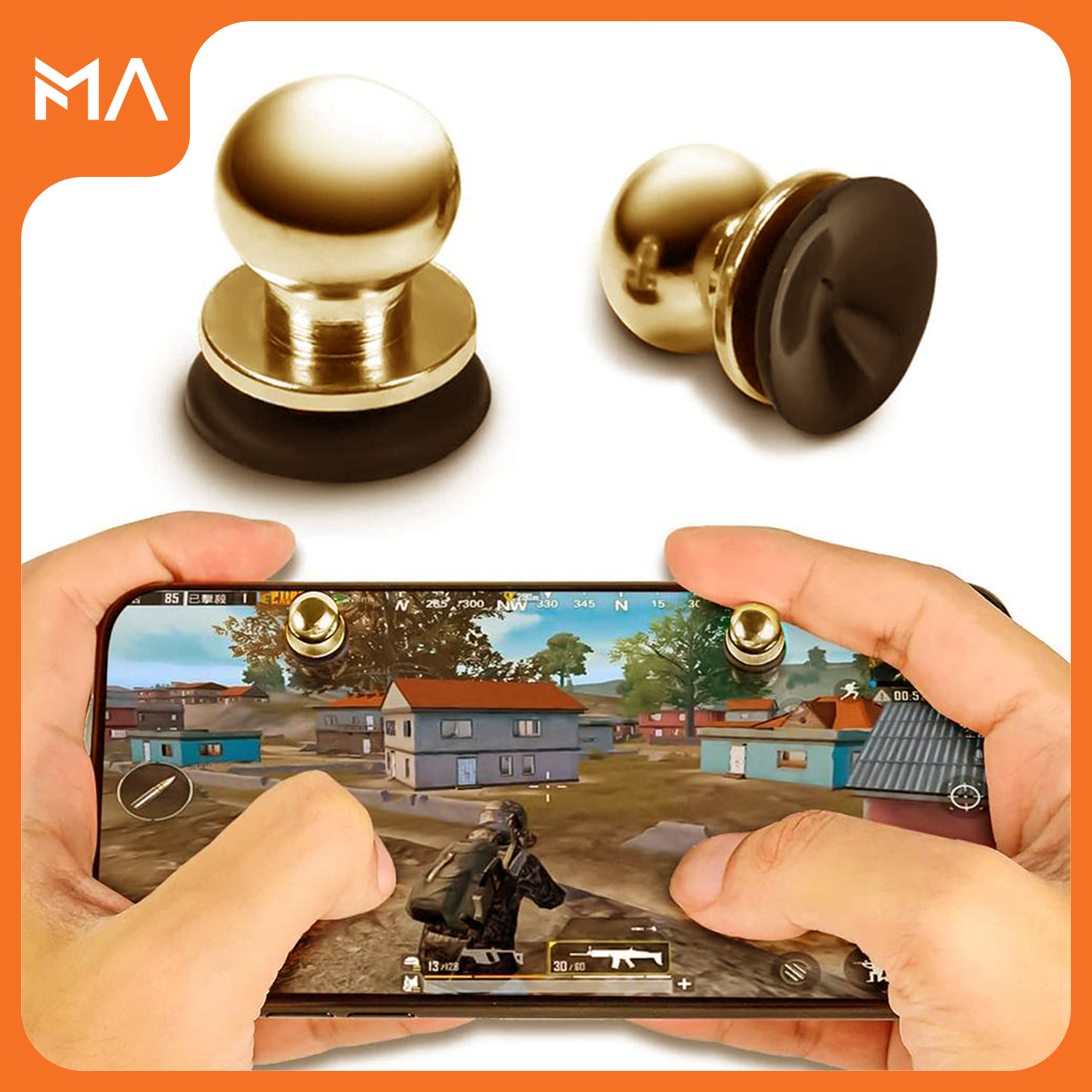 MA Metal Joystick Trigger Triger Trigar Trager Suction Cup For Pubg Mobile Controller Gamepad X13 (L1-R1)
