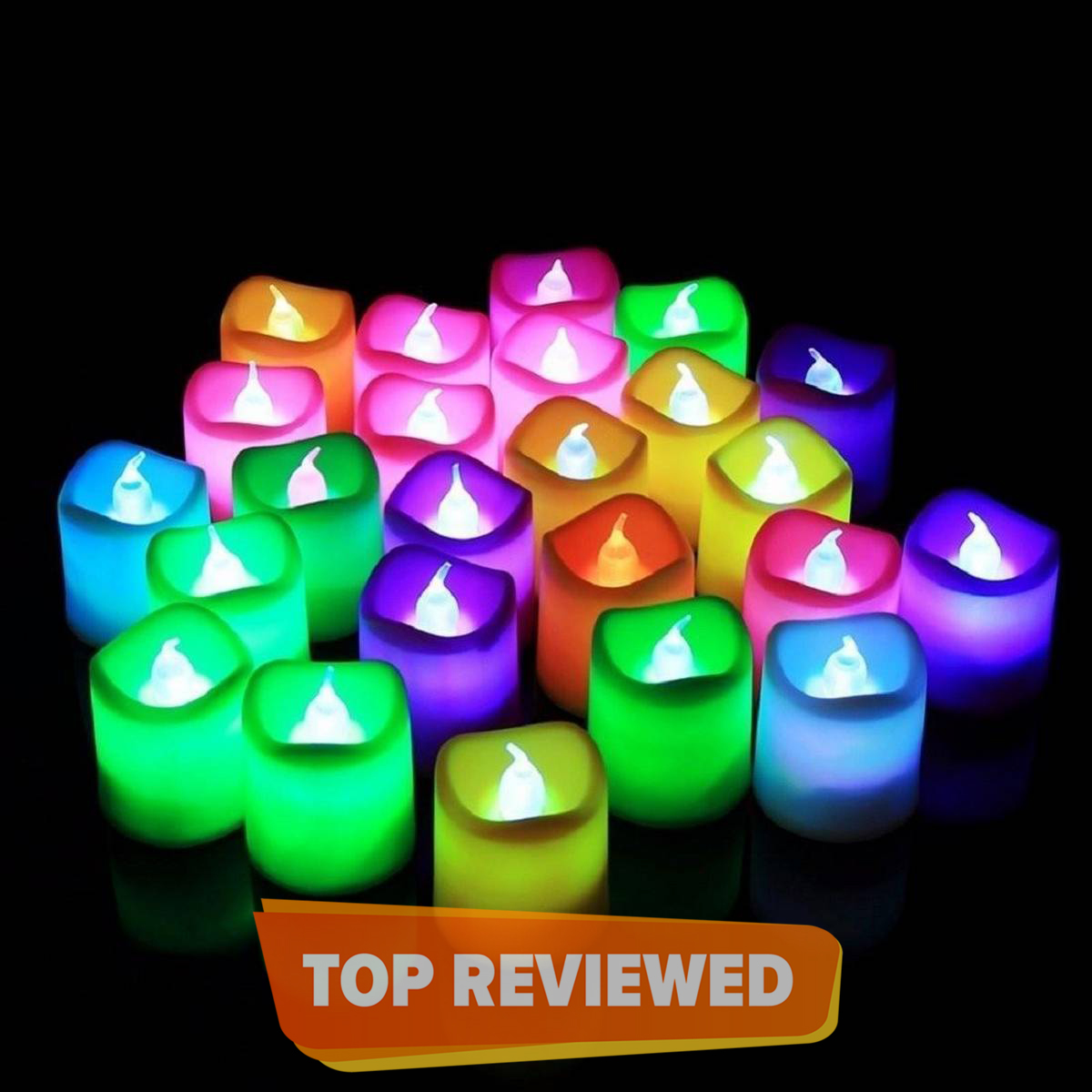 Pack of 12 -Magic Colour Changing LED Glowing Tea Light Flameless Candles - Multicolor
