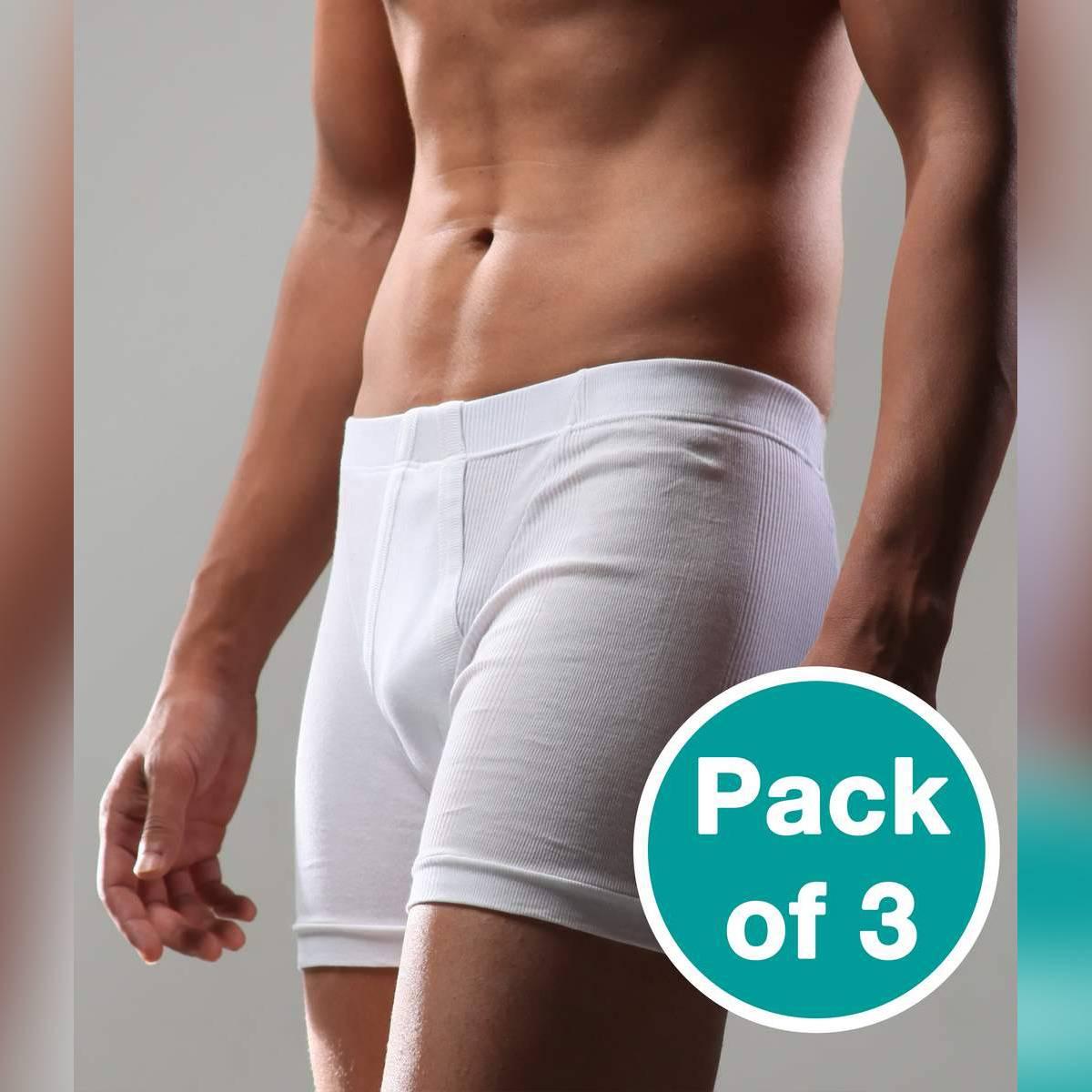 BigBen® White Fine Rib Trunk ( Inside Elastic Pack of 3 )