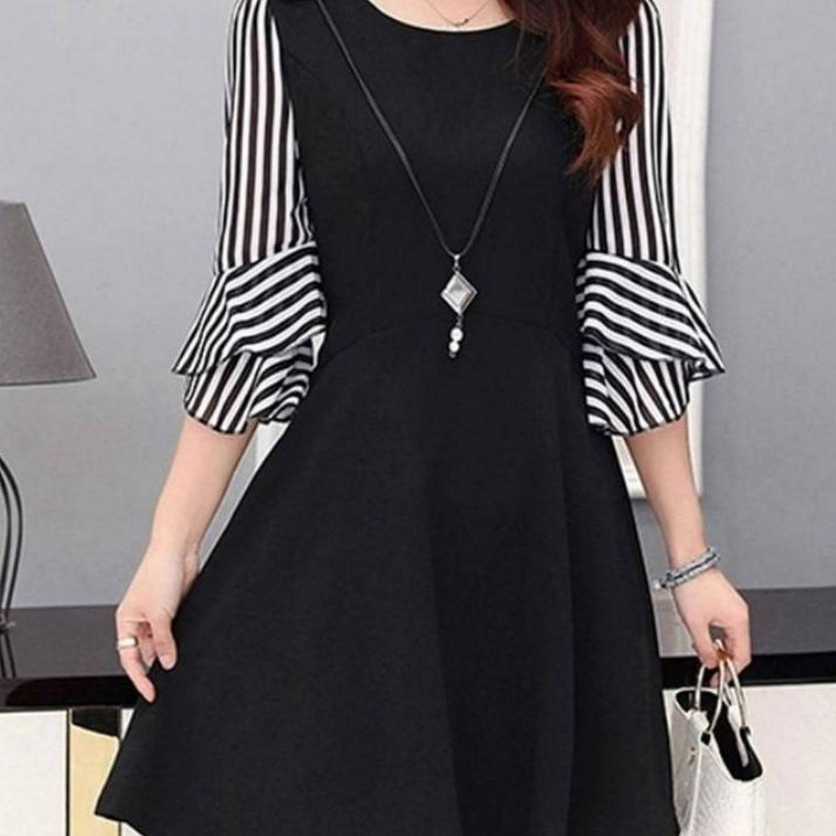 Summer Collection  Black Boski Stripe Sleeves Stylish Top For Women