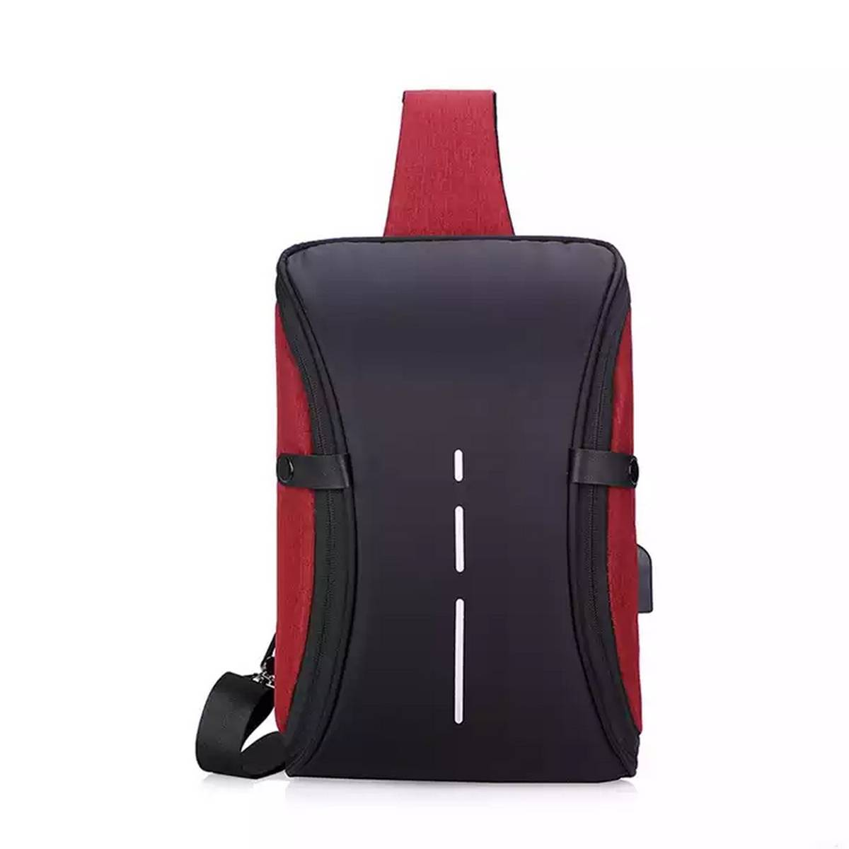 Mens Sling Bag with USB Charging Port Waterproof Chest Shoulder Cross-Body Bags
