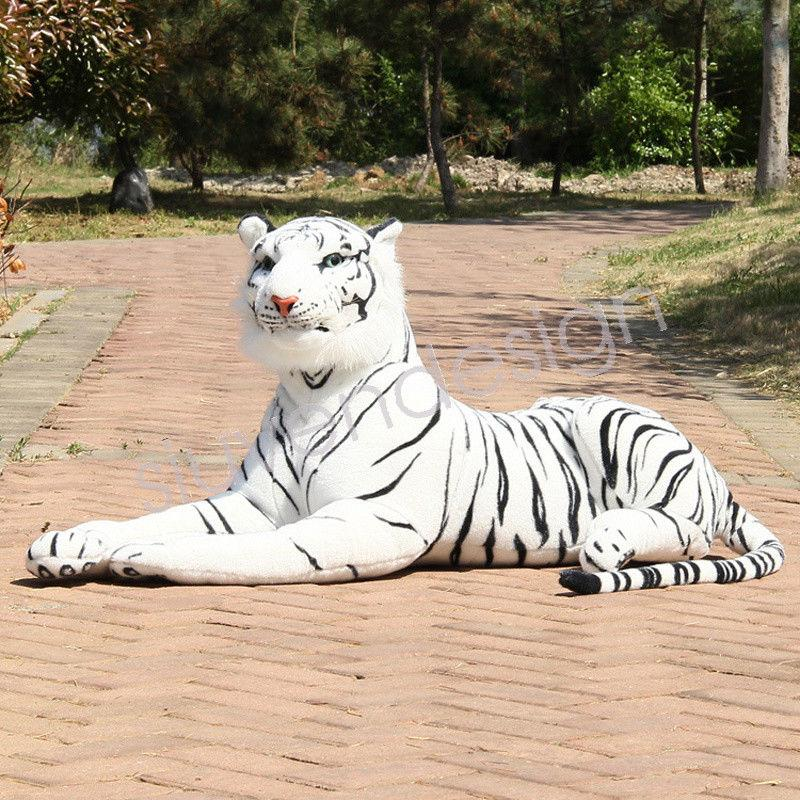 Lovely Simulation Giant White Tiger Stuffed Plush Toy Animal Series Bedtime  Doll