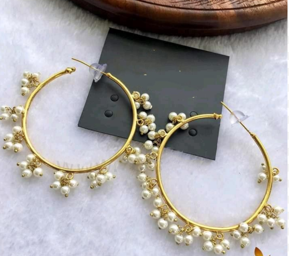Yumna Zaidi Pearl Hoop Circle Handmade Beaded Crystal Earrings For Women