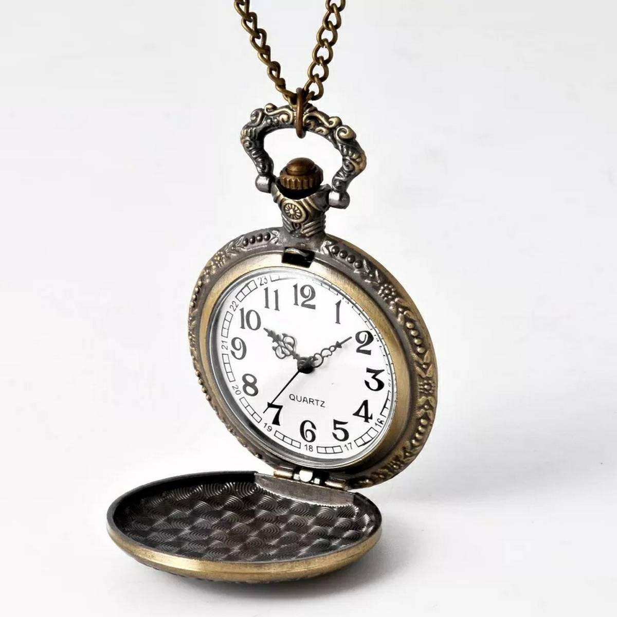 Antique Quartz Pocket Watch Chain Neck_lace Watch - Unisex - Case Design Gold Plated / IP Black Pated with Caring Case.