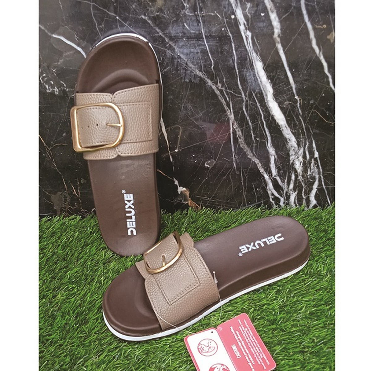 Slide Slippers with Buckle for Women