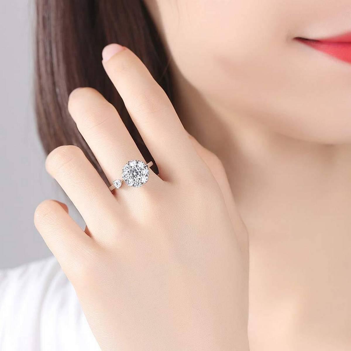 Big Diamond Crystal Rhinestone Ladies Wedding Finger Ring Women Engagement Decoration Girl Sliver Pink